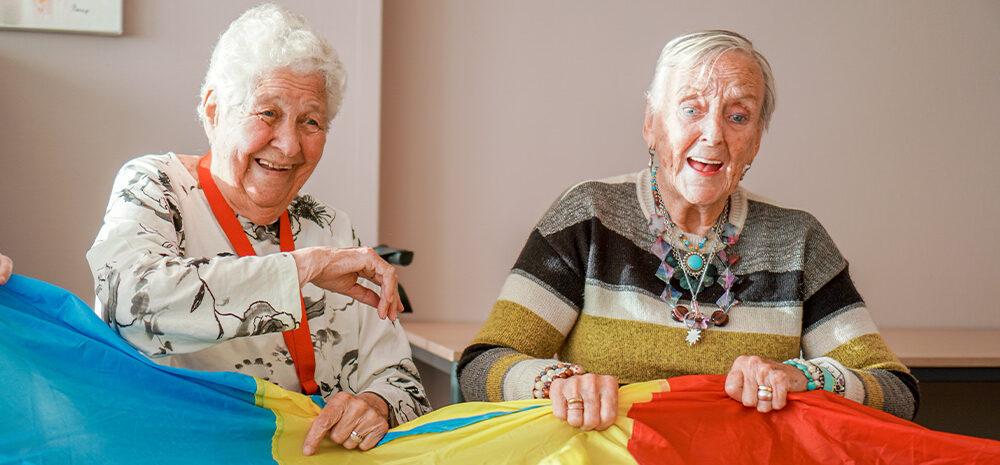 Twee bewoonsters van Dagelijks Leven doen een activiteit met een parachute en een bal