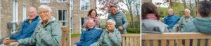 Drieluik van echtpaar dat in de echtparenstudio van Dagelijks Leven woont, buiten op een bankje. Links met z'n tweeën, midden met dochters achter het bankje en rechts met dochters die toekijken.