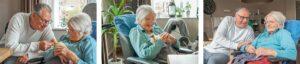 Drieluik van bewoonster Dagelijks Leven met vergevorderde dementie. Samen met haar zoon zit ze in de woonkamer aan de hoge tafel, ze knuffelen met een kuiken en lachen naar elkaar.