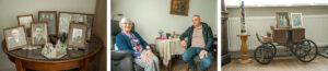 Bewoonster samen met zoon in haar studio in Het Prins Claushuis. Ze zitten aan tafel en lachen naar de camera