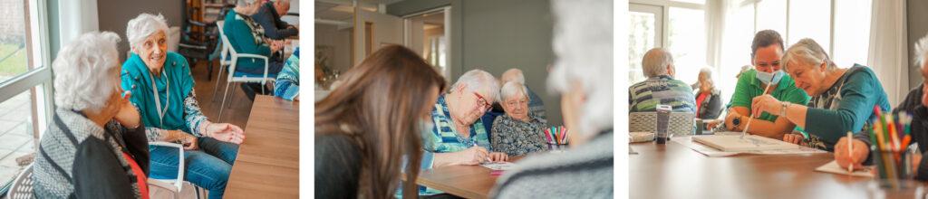 Bewoners zijn samen creatief bezig in de activiteitenruimte van een huis van Dagelijks Leven, voor mensen met dementie