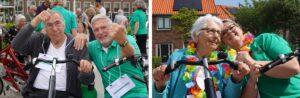 Vrijwilligers en verwanten samen met bewoners met dementie op de duofiets tijdens een sponsortocht bij Dagelijks Leven